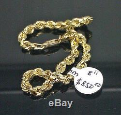 Real 10K Yellow Gold Rope Bracelet 7 Inches 4mm Men Ladies lobster