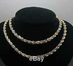 Real 10K Yellow Gold Rope Chain Necklace 24 inch Men's, 5mm, NEW, Franco, Cuban