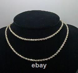 Real 10K Yellow Gold Rope Chain Necklace Diamond Cuts 20 Inch 2.5 mm New