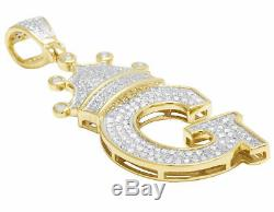 Real 10K Yellow Gold Round Cut Diamond Crown Letter Initial G Pendant 1.20 CT
