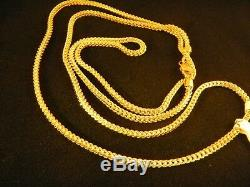 Real 10k Gold 24inch Franco Chain necklace, 1.5mm, Rope, cuban, Free shipping, N