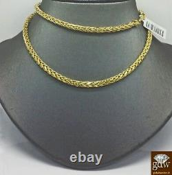 Real 10k Gold 4mm Men yellow Gold Palm Chain Necklace 24 inch Cuban Rope