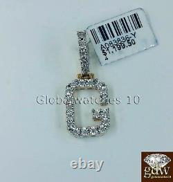 Real 10k Gold G Initial Alphabet Charm Pendant in 1.5 Inch with Real Diamonds