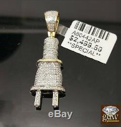 Real 10k Gold Genuine Diamond Plug Charm Pendent & 5mm 24 Rope Chain Ncklace N