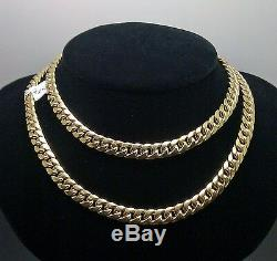 Real 10k Gold Miami cuban Chain 7 mm 30 Inch, Box/Lobster Lock, Strong Link, New N
