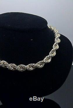 Real 10k Gold Rope Chain Necklace, Thick 24 Inch 8mm diamond cut, Franco, Cuban N