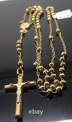 Real 10k Gold Rosary chain Necklace Virgin Mary, Jesus Cross 30 (oro rosario) N