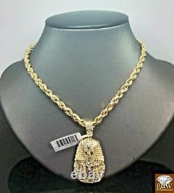 Real 10k Rope Chain Necklace 22 Inch 10k 1.5 Inch Pharaoh Head Charm Pendant