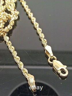 Real 10k Solid Gold Rope Chain Necklace Weighs 14-15grm 22 Inch 3mm Men Women