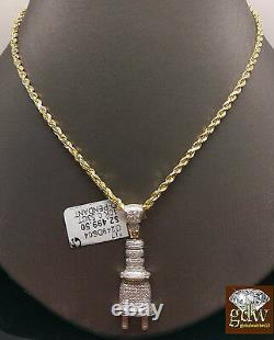 Real 10k Yellow Gold 1/2CT Genuine Diamond Plug Charm Pendent 24 Inch Rope Chain
