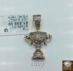 Real 10k Yellow Gold 1 Inch Champion Cup Charm/Pendant with Real Diamonds, Men