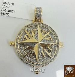 Real 10k Yellow Gold A Unique Cut Compass Charm Pendant Genuine 1/2 Diamond N