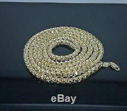 Real 10k Yellow Gold Byzantine Chain Necklace, Men's 32 Inch 4mm, Rope, cuban N