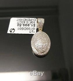 Real 10k Yellow Gold Dome Shaped Diamond Luxuries Pendent Charm Mens / Womens N