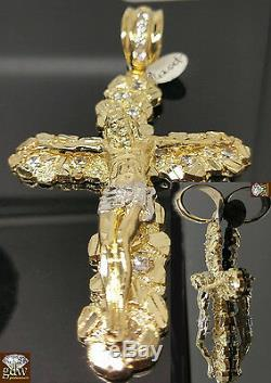 Real 10k Yellow Gold Free Shape Nugget Cross With 26 Inches Miami Cuban Chain N