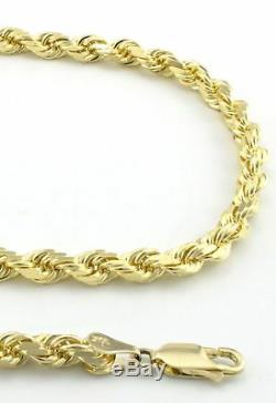 Real 10k Yellow Gold Italian 4mm Mens Womens Diamond Cut Rope Chain Necklace 24