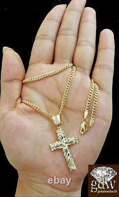 Real 10k Yellow Gold Jesus Cross Charm Pendant 10k Miami Cuban Chain Necklace