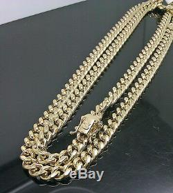Real 10k Yellow Gold Men 7mm Miami Cuban Chain Necklace With Box Lock 20 inch