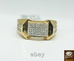Real 10k Yellow Gold Men's Engagement/Wedding Ring With Real Diamonds, Pinky