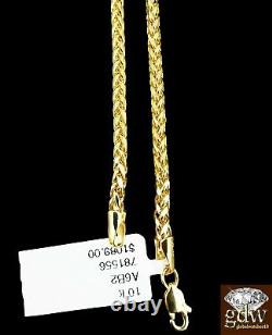 Real 10k Yellow Gold Mens Jesus Cross Charm/Pendant with 22 Inch Long Palm Chain