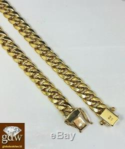 Real 10k Yellow Gold Miami Cuban Bracelet 7mm 7 Inch, Box Lock strong Link, N