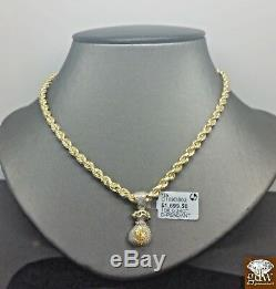 Real 10k Yellow Gold Money Bag Real Diamond With 10k Rope Chain 22 Inch, N