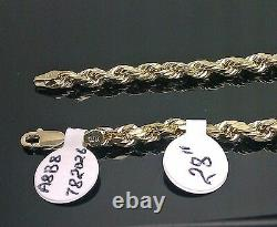 Real 10k Yellow Gold Rope Chain Necklace Diamond Cut 4mm 20 inch