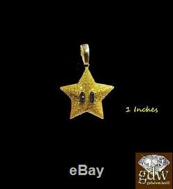 Real 10k Yellow Gold Star Emoji Charm/Pendant with Real Canary Diamonds 1 Inch
