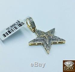 Real 10k Yellow Gold Star Emoji Charm/Pendant with Real Diamonds, Angel