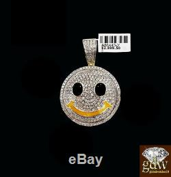Real 10k Yellow Gold and Diamond smiley emoji Charm Pendant for Men Women New