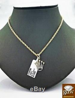 Real 10k Yellow Gold and Diamonds Crown Design Charm with 20 Inches Rope Chain