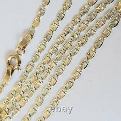 Real 10k yellow white and Rose gold chain necklace 2 mm 20 inches long