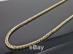 Real 10kt Yellow Gold 24 Inch Palm Chain Necklace 3mm A6B5 Franco, Rope, Cuben N