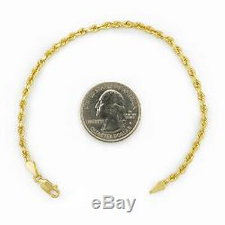 Real 14K Yellow Gold 2.5mm Diamond Cut Rope Chain Link Bracelet Anklet 7 8 9