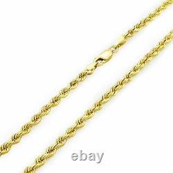 Real 14K Yellow Gold 3mm Diamond Cut Rope Chain Necklace Lobster Clasp 18- 30