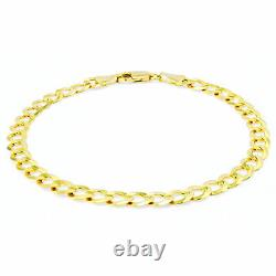 Real 14K Yellow Gold 5.5mm Link Curb Cuban Chain Bracelet Lobster Clasp 7.5