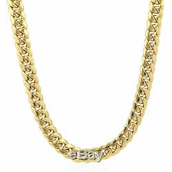 Real 14K Yellow Gold Cuban Chain Necklace 24 inch 8mm Box Clasp, Link, Rope N