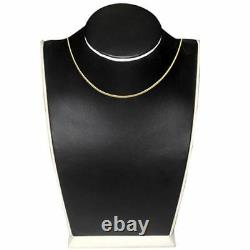 Real 14k Yellow Gold 1MM Sparkle Omega Necklace Chain 17 Inch Girl Women Ladies