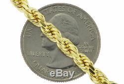 Real 14k Yellow Gold 5mm Diamond Cut Rope Chain Link Necklace Lobster Clasp 24