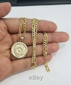 Real 14k Yellow Gold Aztec Medallion Calendar Pendant Charm 20 Inch Figaro Chain