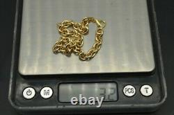 Real 14k Yellow Gold polished Charm Rolo Link Bracelet 6mm 7.5'