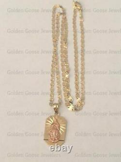 Real 14k Yellow Rose Gold Religious Virgin Mary Pendant 18 Charm Valentin Chain