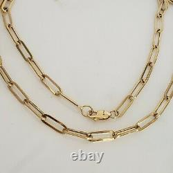 Real 14k yellow GOLD 4mm Paperclip chain necklace 18 inches long