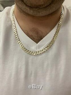Real 925 Sterling Silver & 10k Yellow Gold Diamond Cut Cuban Link Chain Necklace