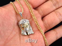 Real Diamond Jesus Face Piece Pendant & Chain In Yellow Gold FInish 1.25.50Ct