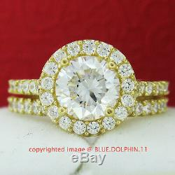 Real Genuine Solid 9K Yellow Gold Engagement Wedding Rings Set Simulated Diamond
