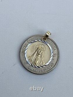 Real Solid 14k Yellow Gold Virgin Mary Medallion Pendant Necklace Mens Ladies