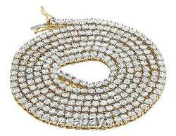 Real Yellow Gold Finish 1 Row Diamond Chain Necklace 3.5MM 34 ins 2.25 Ct