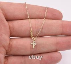 Religious Diamond Cut Cross Rosary Anklet Ankle Real Solid 14K Tricolor Gold