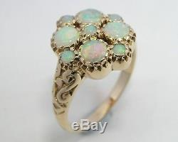 S R107 Genuine 9ct 9K Yellow Gold NATURAL Solid Opal Blossom Floral Ring size N